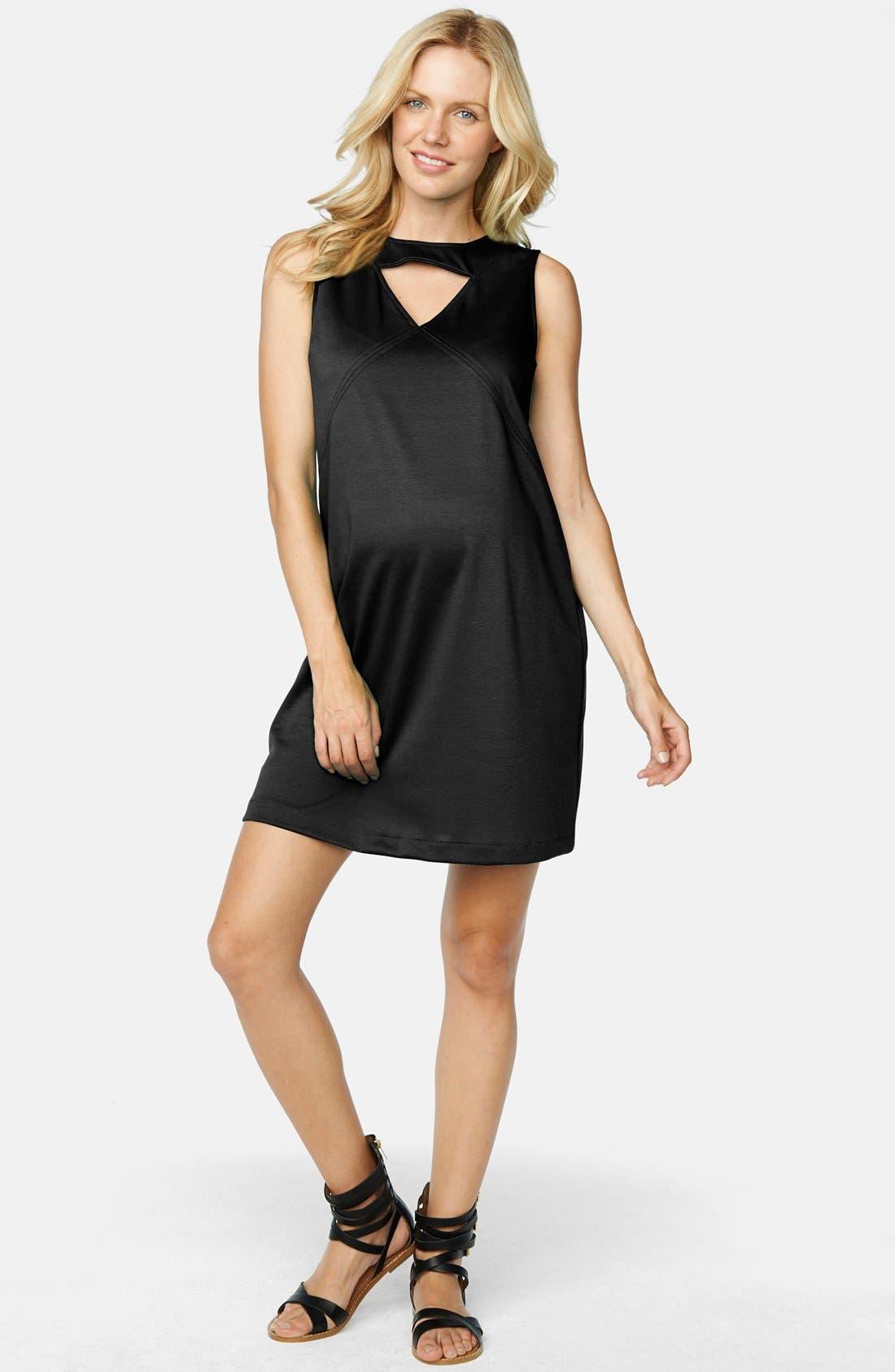 Keyhole Ponte Knit Maternity Dress,                             Main thumbnail 1, color,                             Black