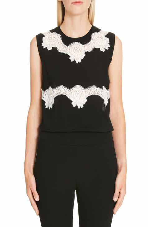 Dolce&Gabbana Lace Panel Wool Blend Top by DOLCE AND GABBANA