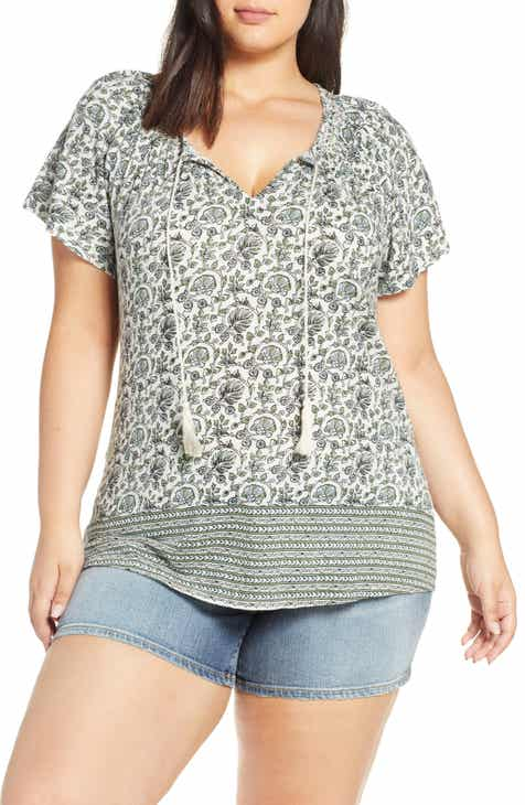 299ffb1f1684 Lucky Brand Border Print Smocked Top (Plus Size)