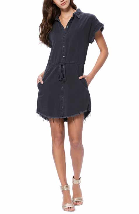 PAIGE Jaylin Frayed Denim Shirtdress by PAIGE