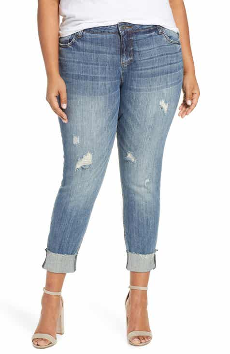 43011d9294d20 KUT from the Kloth Catherine Raw Hem Boyfriend Jeans (Richness) (Plus Size)