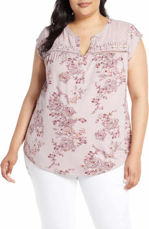 879bbe727f6 Daniel Rainn Floral Print Swiss Dot Top (Plus Size)