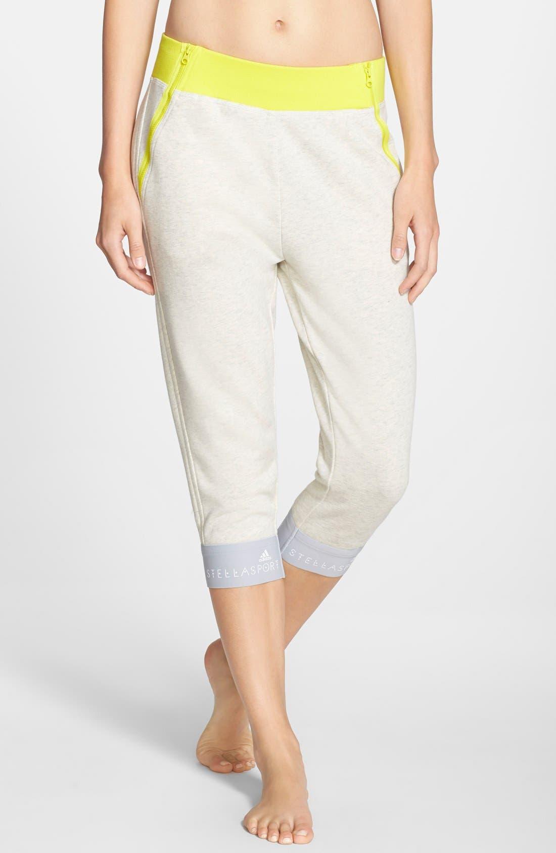 Main Image - adidas by Stella McCartney Crop Cotton Sweatpants