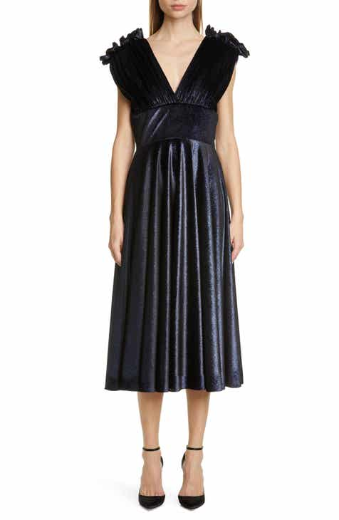 Christian Siriano V-Neck Velvet Midi Dress