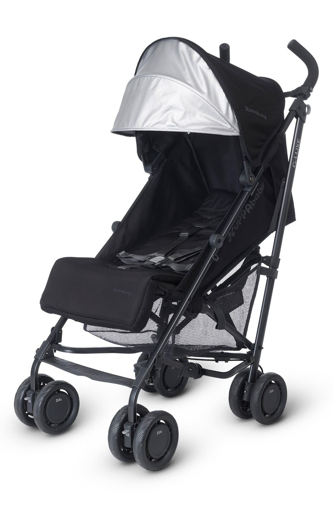 G-LUXE - Black Frame Reclining Umbrella Stroller,                             Alternate thumbnail 6, color,                             Jake Black/ Carbon