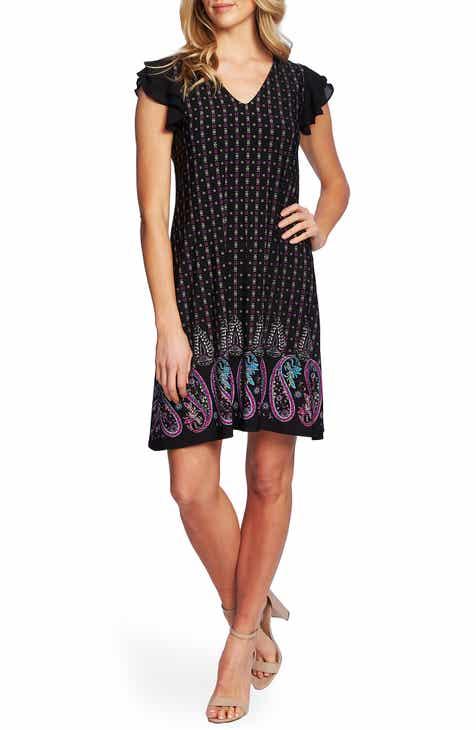 CeCe Mosaic Border Flutter Sleeve Shift Dress