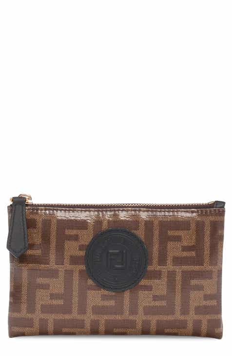 91f50646ad35 Fendi Small Busta Logo Leather Zip Pouch