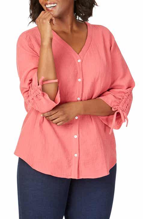 5df6c712 Foxcroft Marley Gauze Shirt (Plus Size)