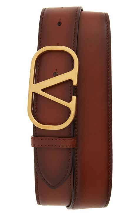 6a7341661ae Valentino Rounded V-Buckle Leather Belt