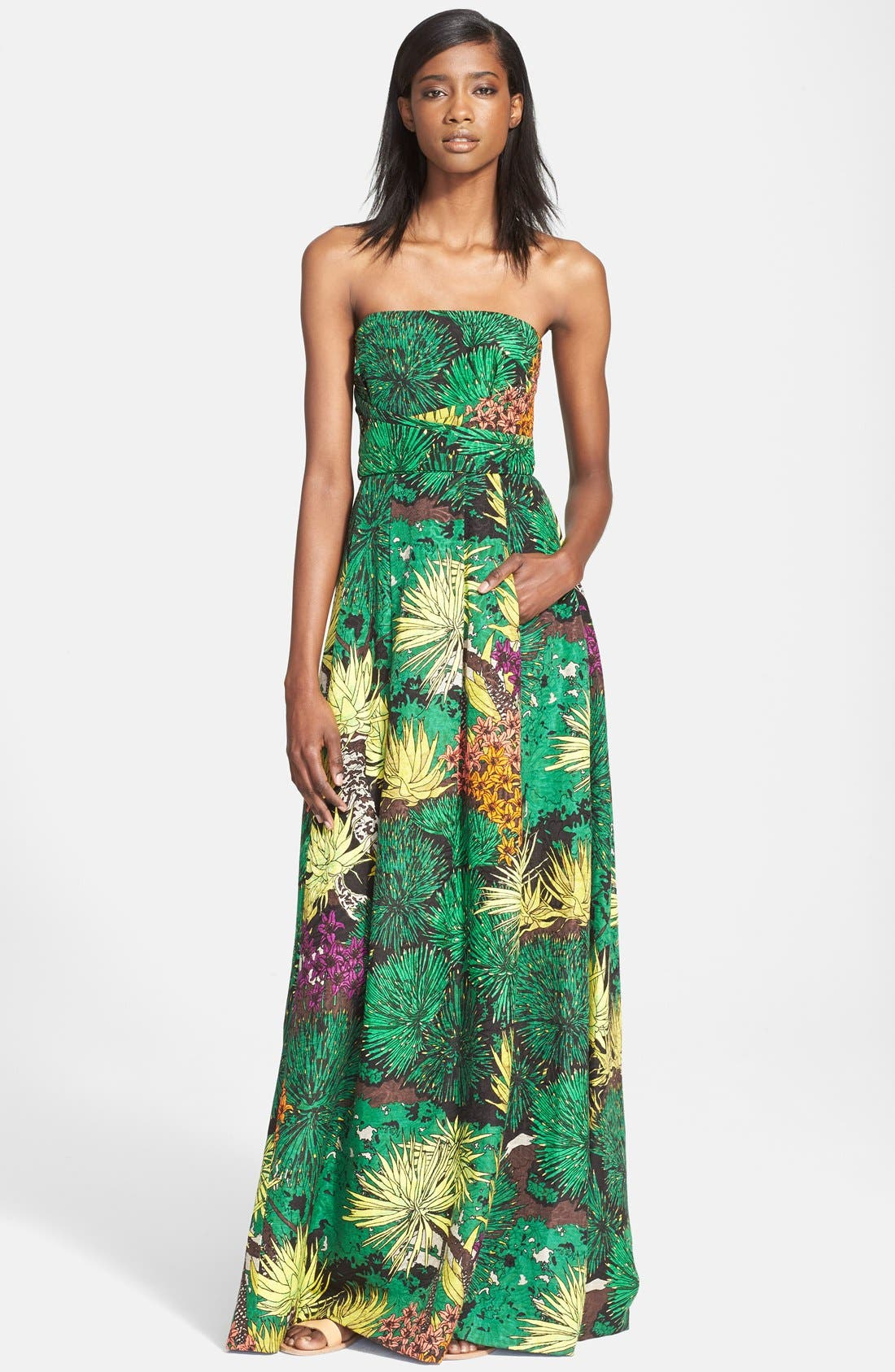 Alternate Image 1 Selected - Tracy Reese Cactus Flower Print Strapless Gown
