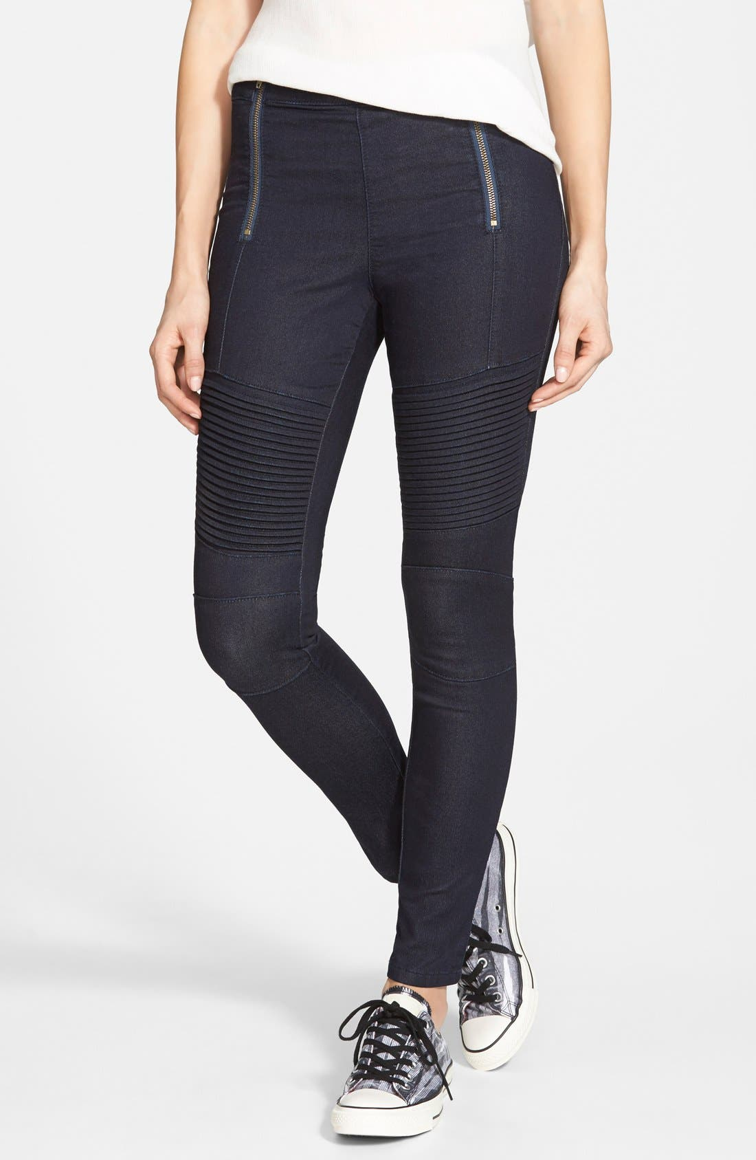Main Image - Standards & Practices 'Sachi' Moto Skinny Jeans (Blue) (Online Only)