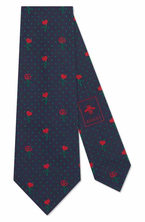 8b9c80597063 Gucci Heart & Flowers Silk Tie