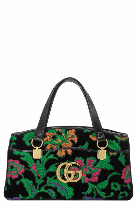 fbe99f300ef Gucci Medium Arli Floral Chenille Jacquard Top Handle Bag