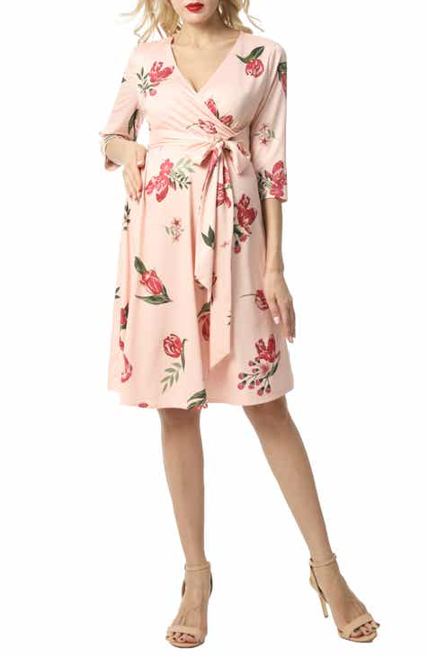 c5bd35132ae Kimi and Kai Ashley Floral Faux Wrap Maternity Dress