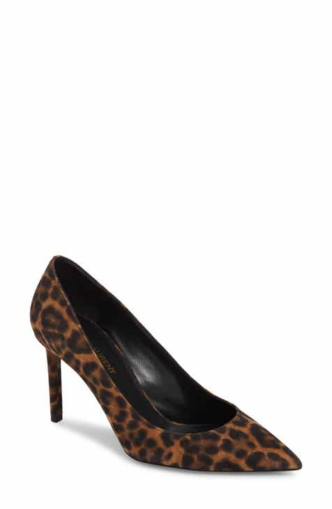 153d27857d20 Saint Laurent Anja Leopard Print Pointy Toe Pump (Women)