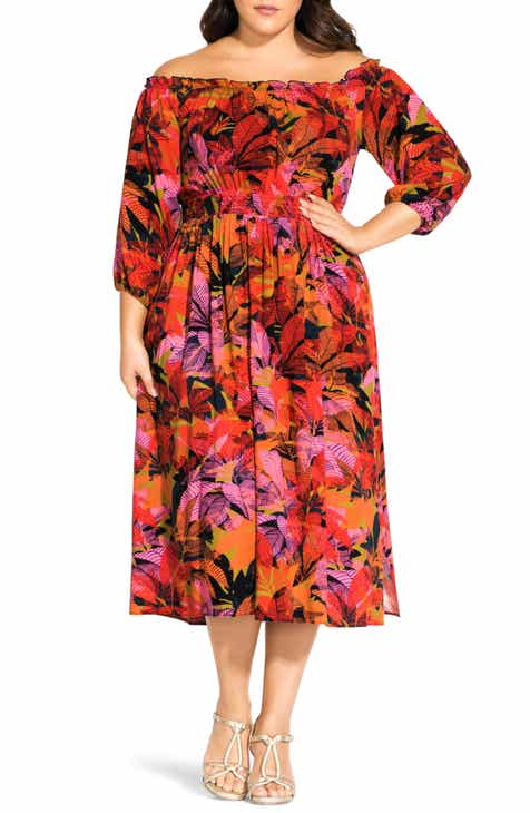 City Chic Sunrise Off the Shoulder Midi Dress (Plus Size)
