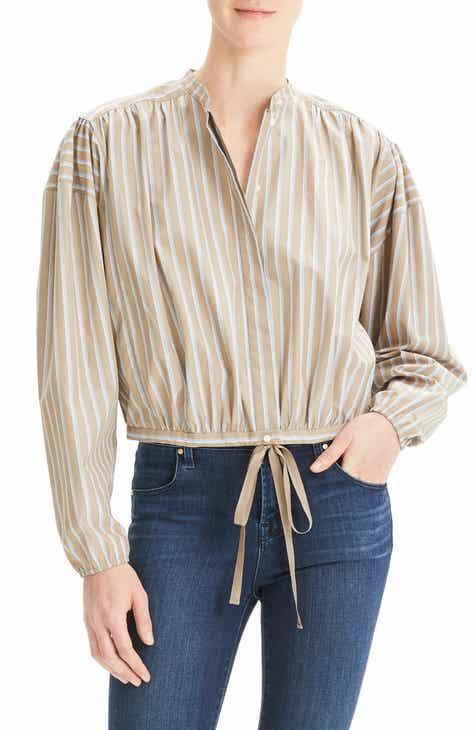 52dfbcbcb Theory Stripe Shirrred Tie Front Cotton Top