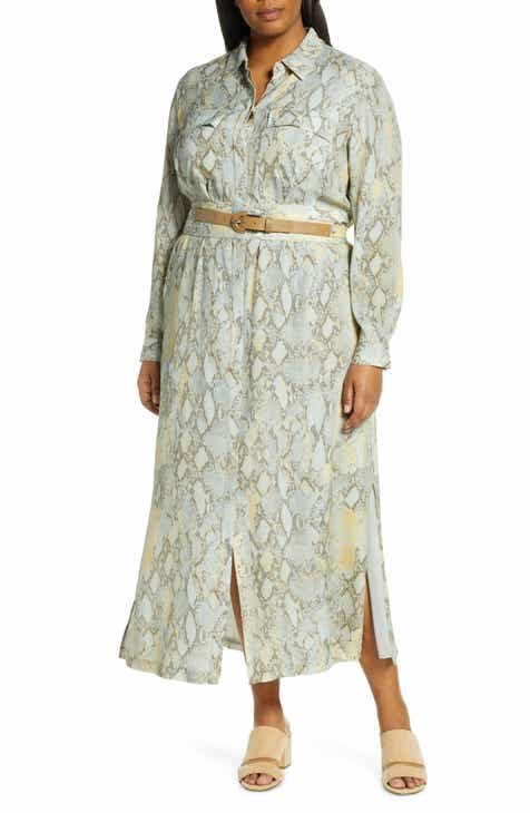 Lafayette 148 New York Doha Belted Maxi Shirtdress (Plus Size)