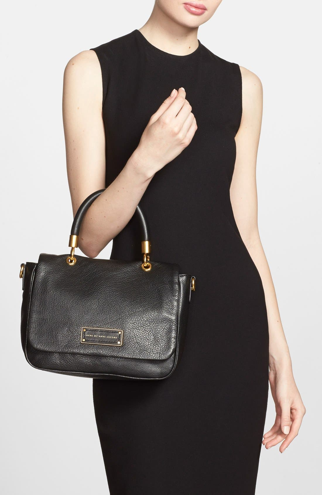 MARC BY MARC JACOBS 'Small Too Hot To Handle' Leather Tote,                             Alternate thumbnail 2, color,                             Black