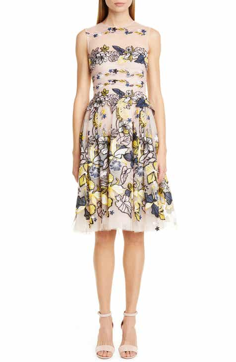 Zuhair Murad Flower Garden Embroidered Mesh Cocktail Dress