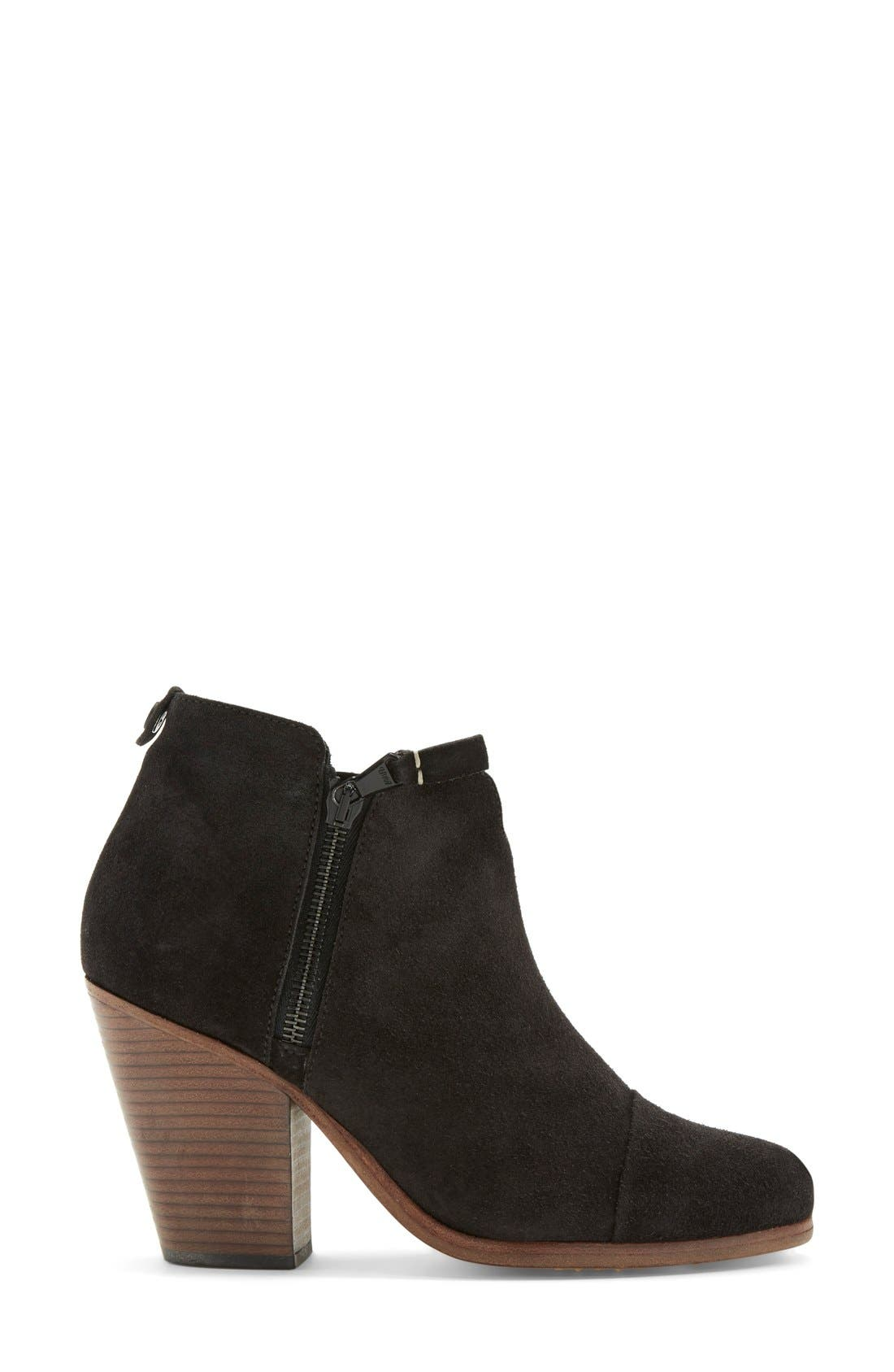 Margot Bootie,                             Alternate thumbnail 4, color,                             Black Waxed Suede