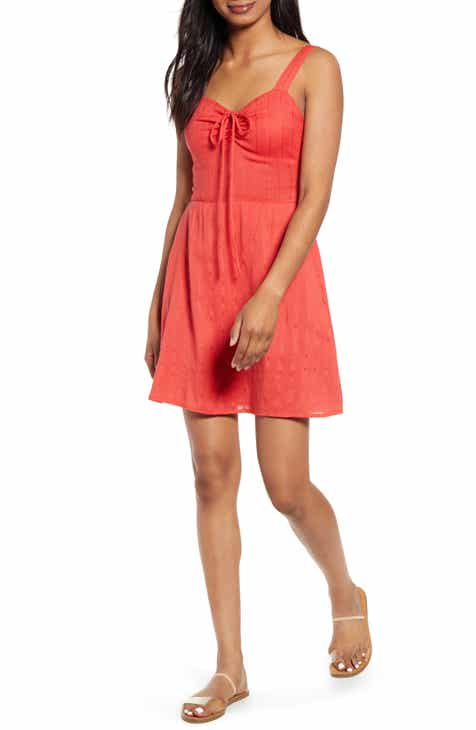 Billabong Cheery Kisses Tie Ruched Minidress