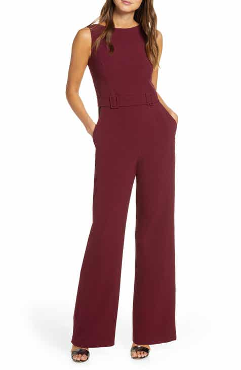 733b4b459 Vince Camuto Belted Sleeveless Stretch Crepe Jumpsuit (Regular & Petite)