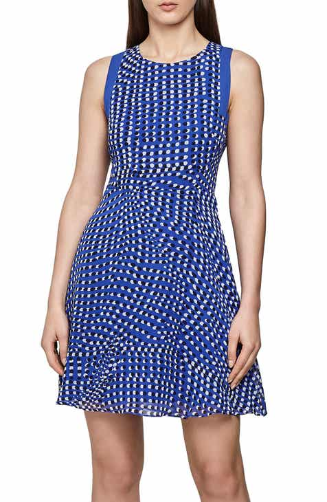 Reiss Nelly Spot Print Sleeveless Fit & Flare Dress