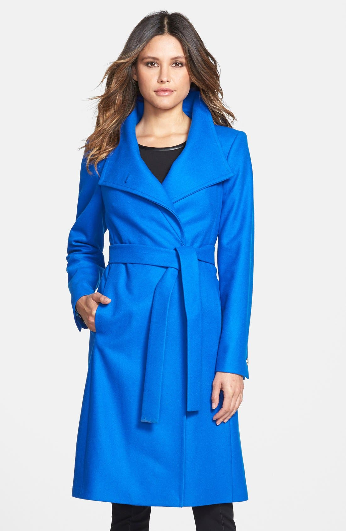 Alternate Image 1 Selected - Ted Baker London 'Nevia' Stand Collar Belted Wrap Coat