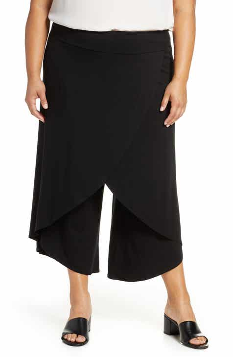 4a2ddfcbff93c9 Eileen Fisher Faux Wrap Wide Leg Pants (Plus Size)