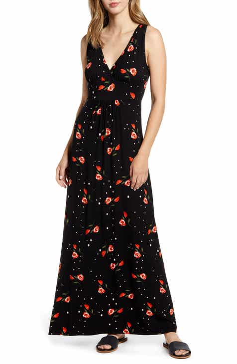 Loveappella Surplice Floral Jersey Maxi Dress