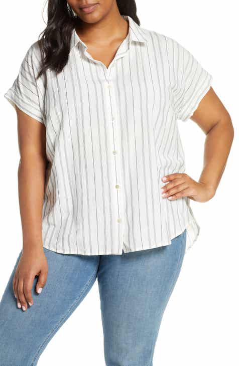 Eileen Fisher Stripe Boxy Organic Cotton Blend Shirt (Plus Size)