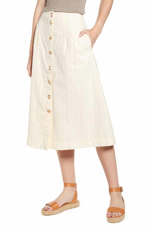 d9d47ed9c1 Madewell Eyelet Patio Button Front Midi Skirt
