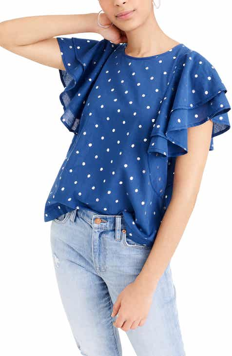 ce063298d6b9e5 J.Crew Ruffle Flutter Sleeve Metallic Polka Dot Top (Regular & Plus Size)