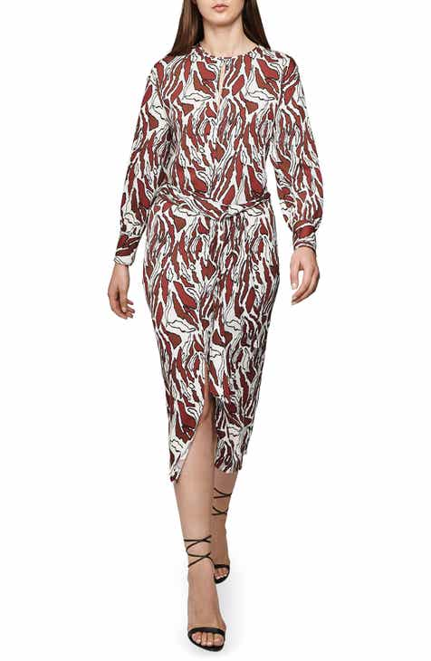 fabee6c95de4f3 Reiss Tiger Print Keyhole Long Sleeve Dress