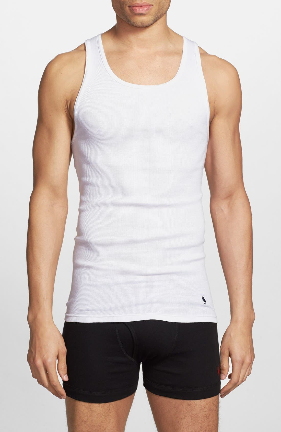 Classic 3-Pack Ribbed Tank,                         Main,                         color, White/ White