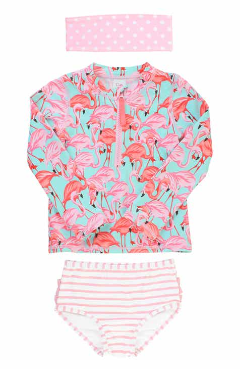 b61d2cb47a RuffleButts Flamingo Two-Piece Rashguard Swimsuit & Head Wrap Set (Toddler  Girls & Little Girls)