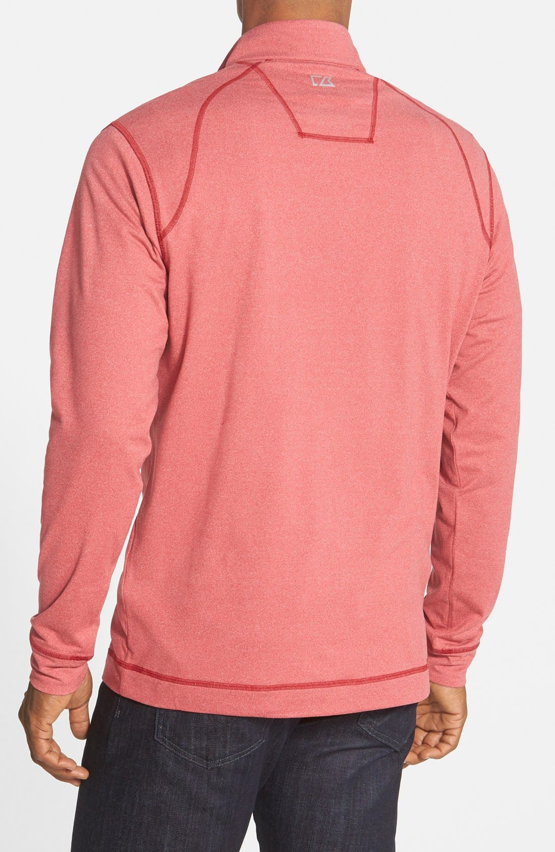 'Topspin' DryTec Half Zip Pullover,                             Alternate thumbnail 3, color,                             Cardinal Red Heather