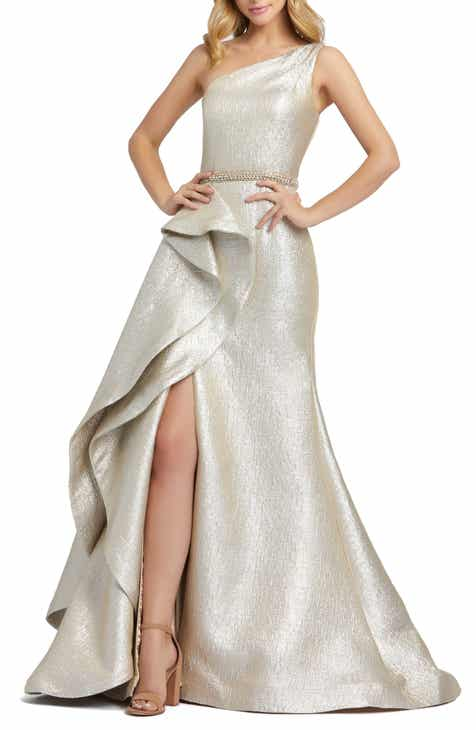 Mac Duggal One-Shoulder Ruffle Metallic Mermaid Gown
