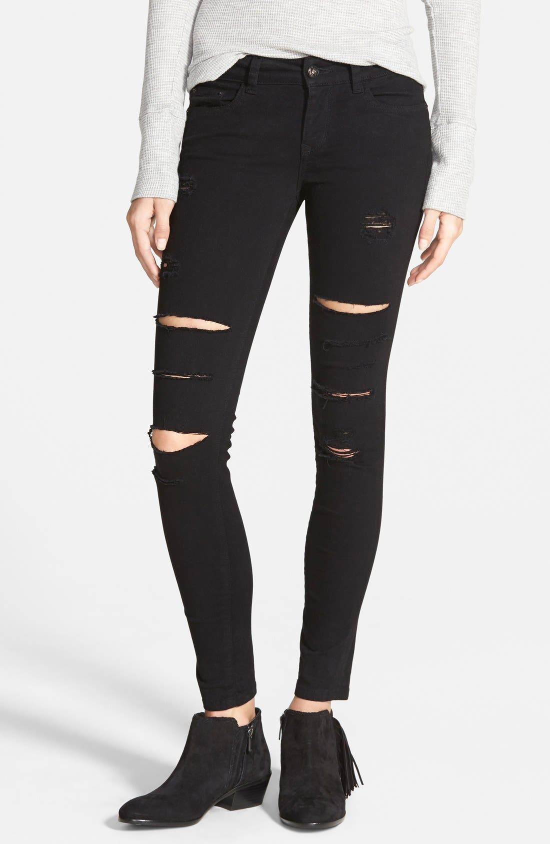 Destroyed Low Rise Skinny Jeans,                             Main thumbnail 1, color,                             Black