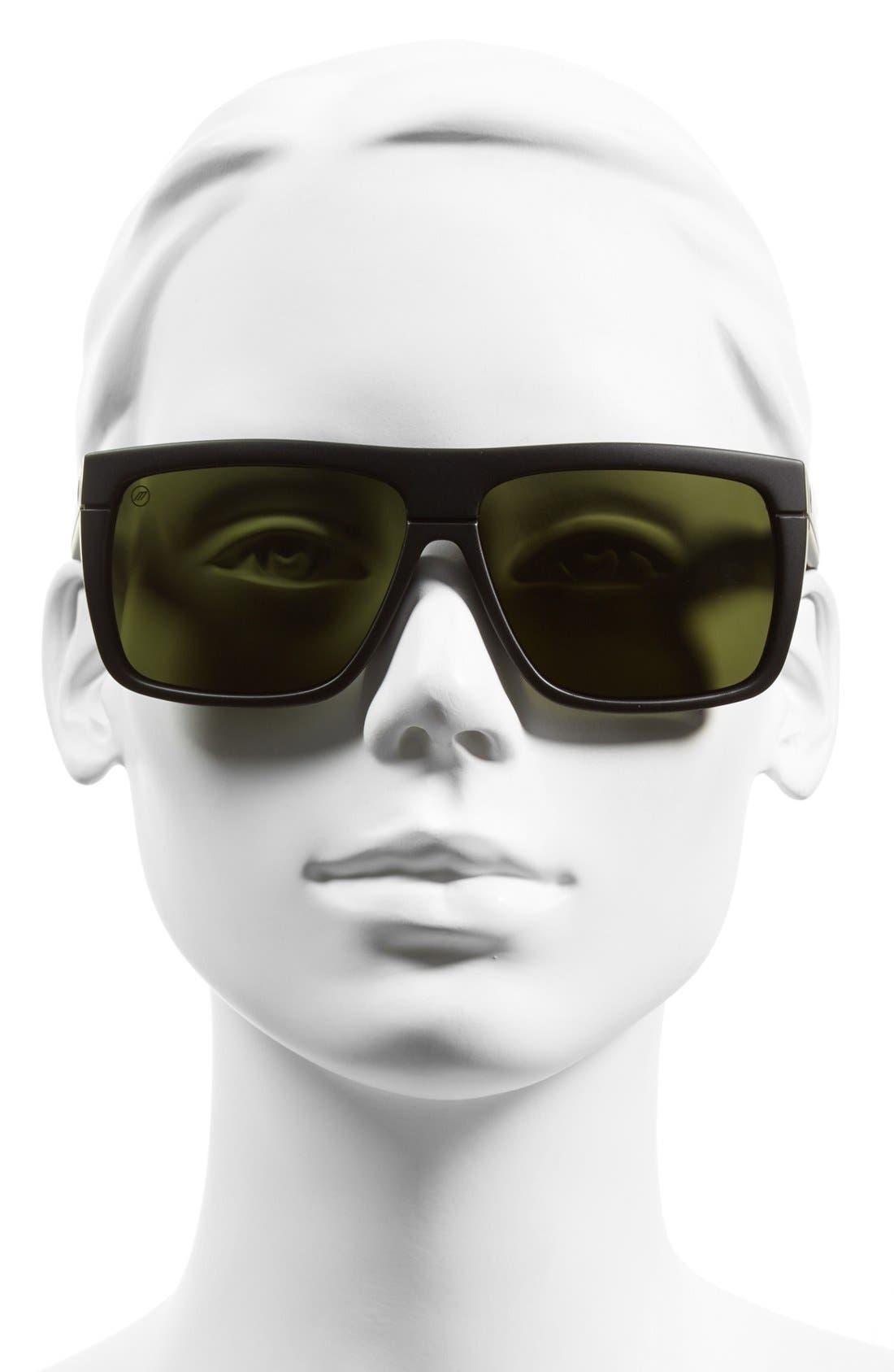 'Black Top' 61mm Flat Top Sunglasses,                             Alternate thumbnail 2, color,                             Matte Black/ Grey