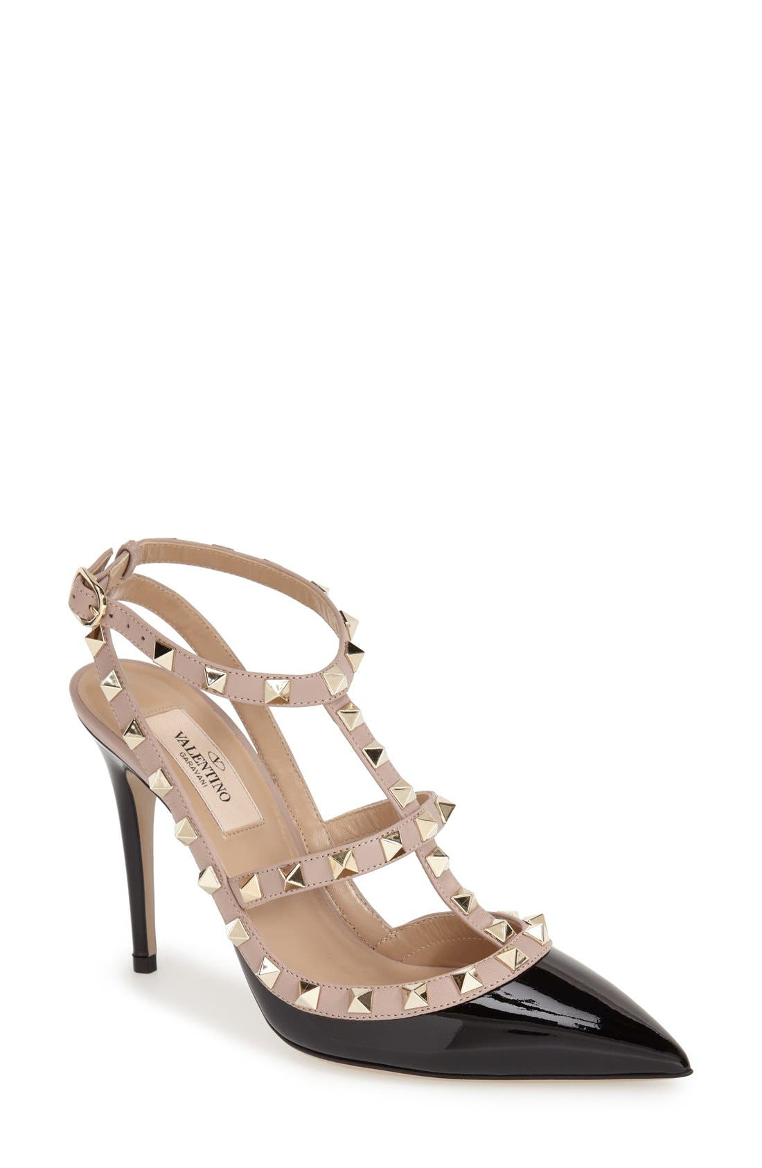 Rockstud T-Strap Pump,                             Main thumbnail 1, color,                             Black/ Blush Patent