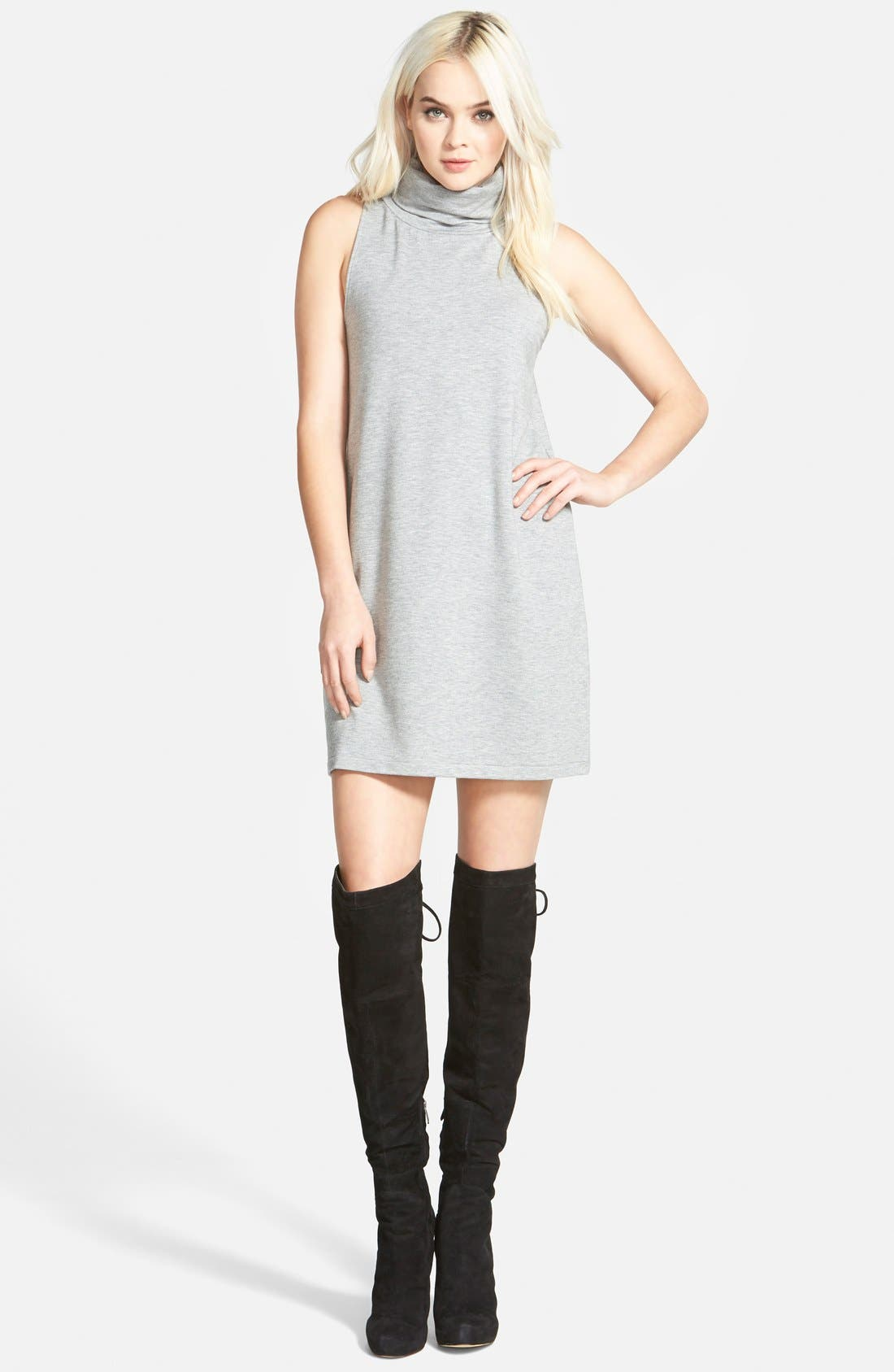 A-Line Turtleneck Dress,                             Main thumbnail 1, color,                             Grey Medium Heather