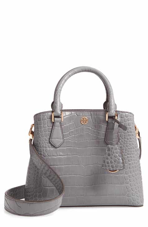 Tory Burch Small Robinson Croc Embossed Leather Bucket Bag