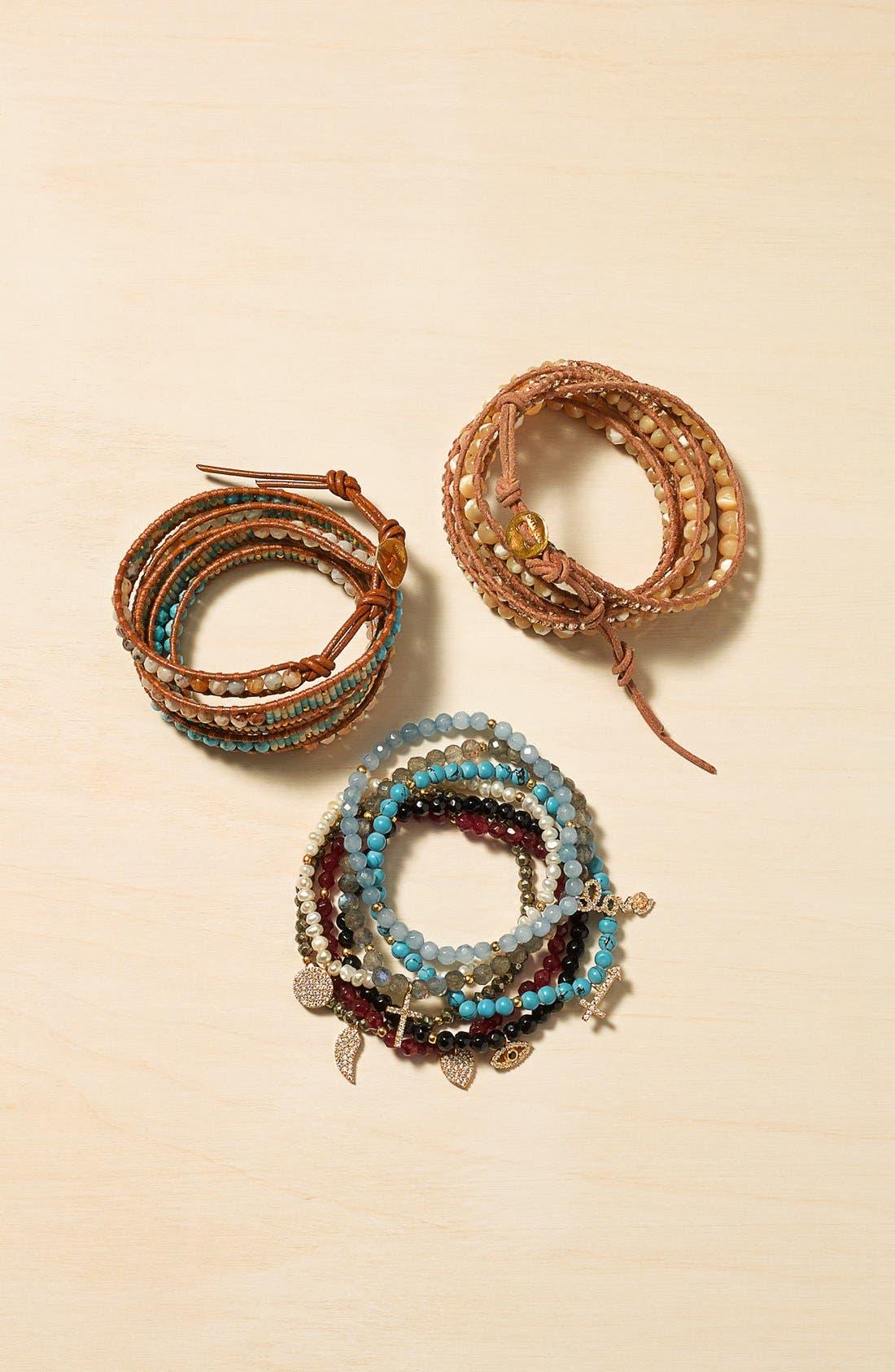 Alternate Image 2  - Chan Luu Graduated Beaded Leather Wrap Bracelet