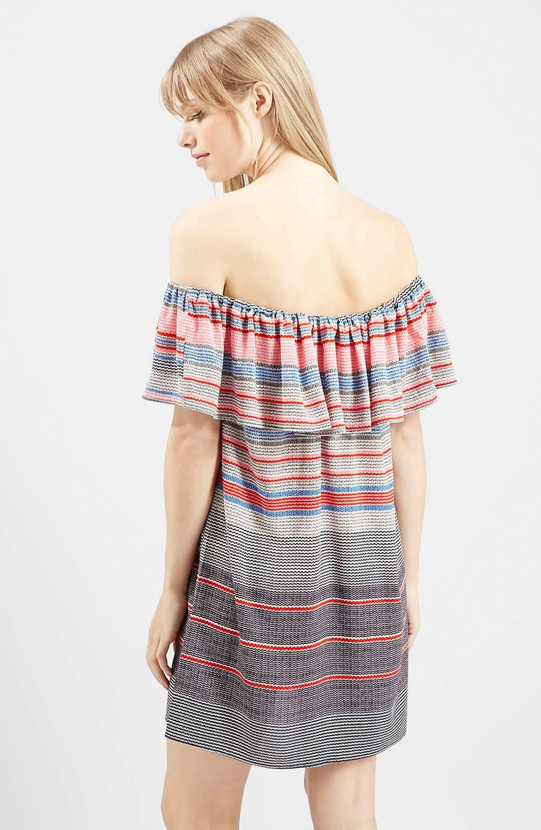 'Sumi' Stripe Off the Shoulder Dress,                             Alternate thumbnail 2, color,                             Red Multi