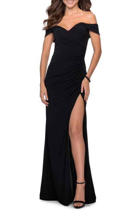 La Femme Off the Shoulder Jersey Gown