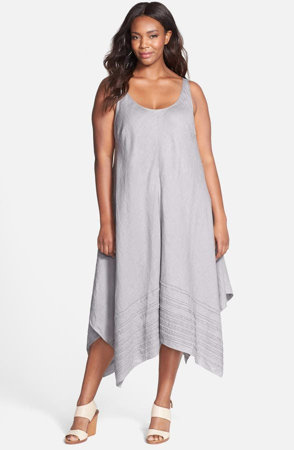Eileen Fisher Handkerchief Hem Scoop Neck Linen Tank Dress (Plus ...