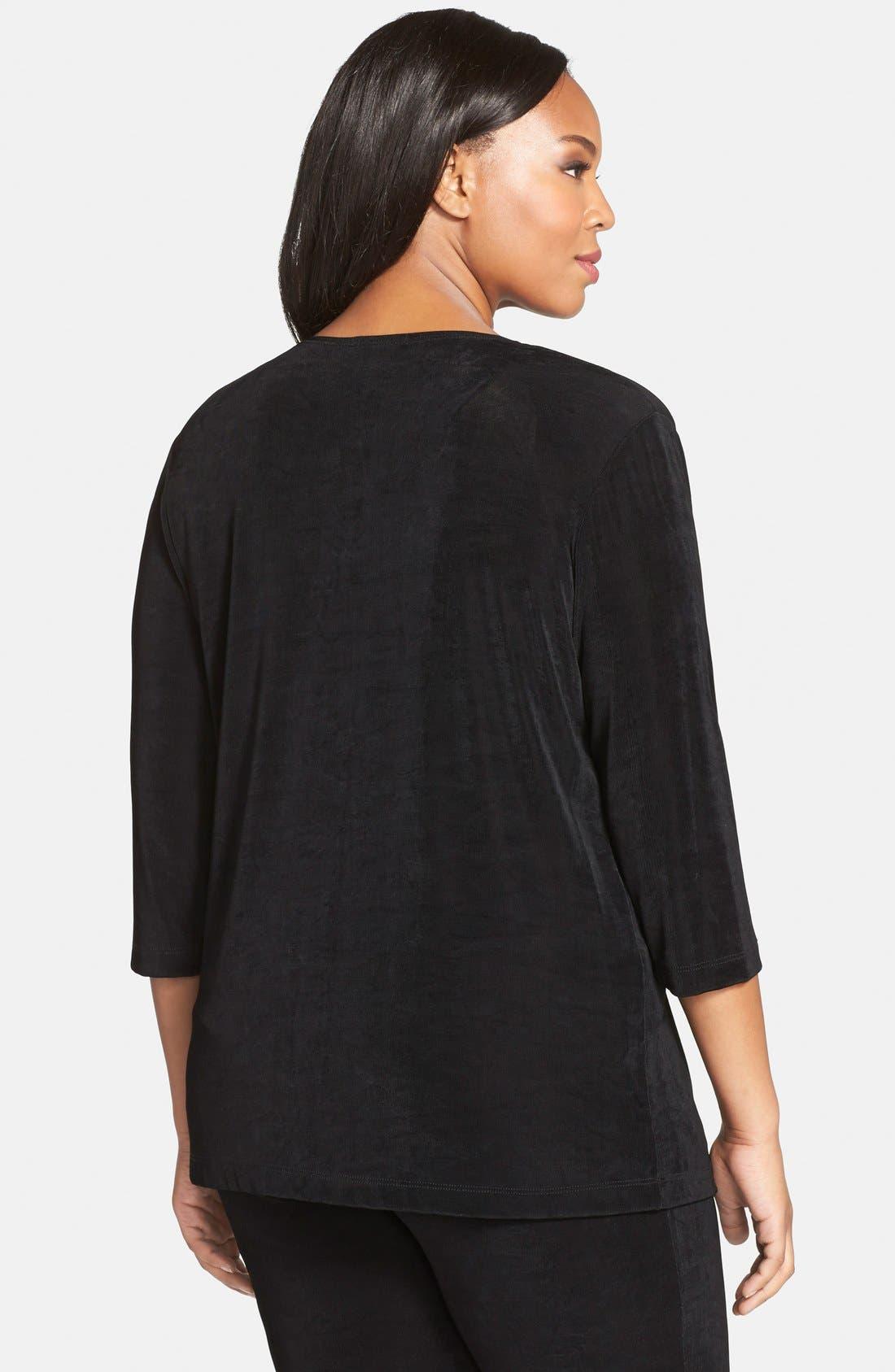 Alternate Image 2  - Vikki Vi Three-Quarter Sleeve Cardigan (Plus Size)