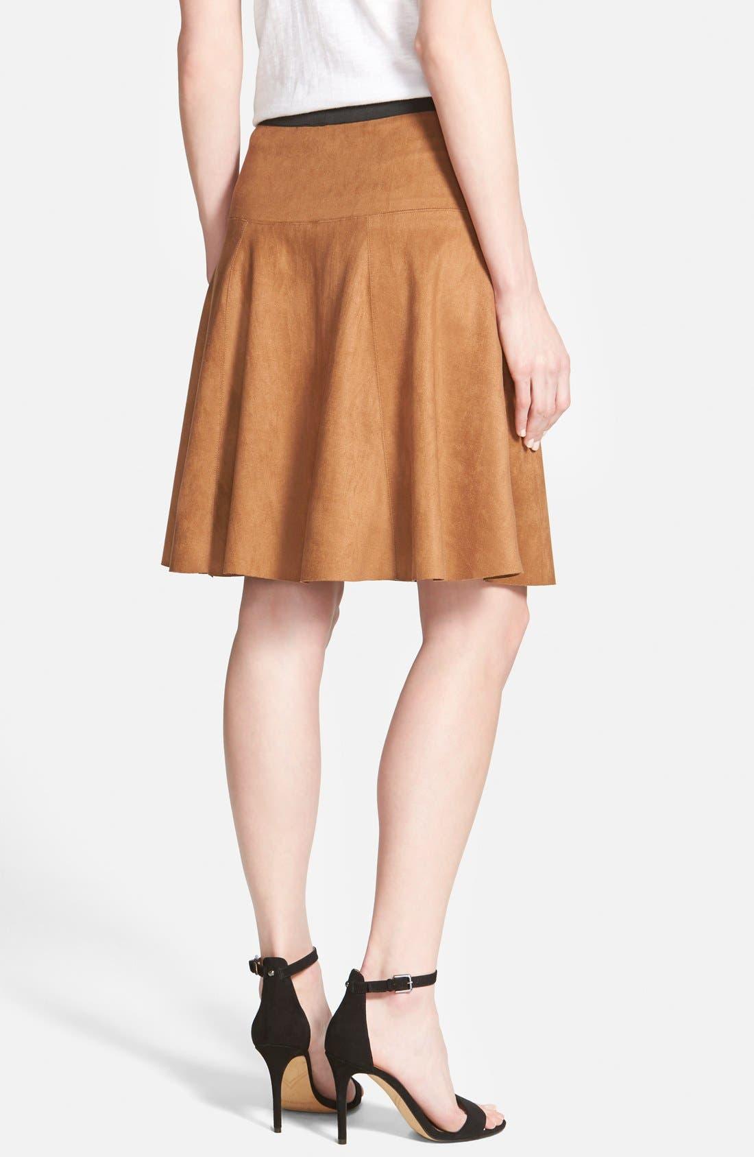 Alternate Image 2  - Karen Kane Faux Suede Flare Panel Skirt